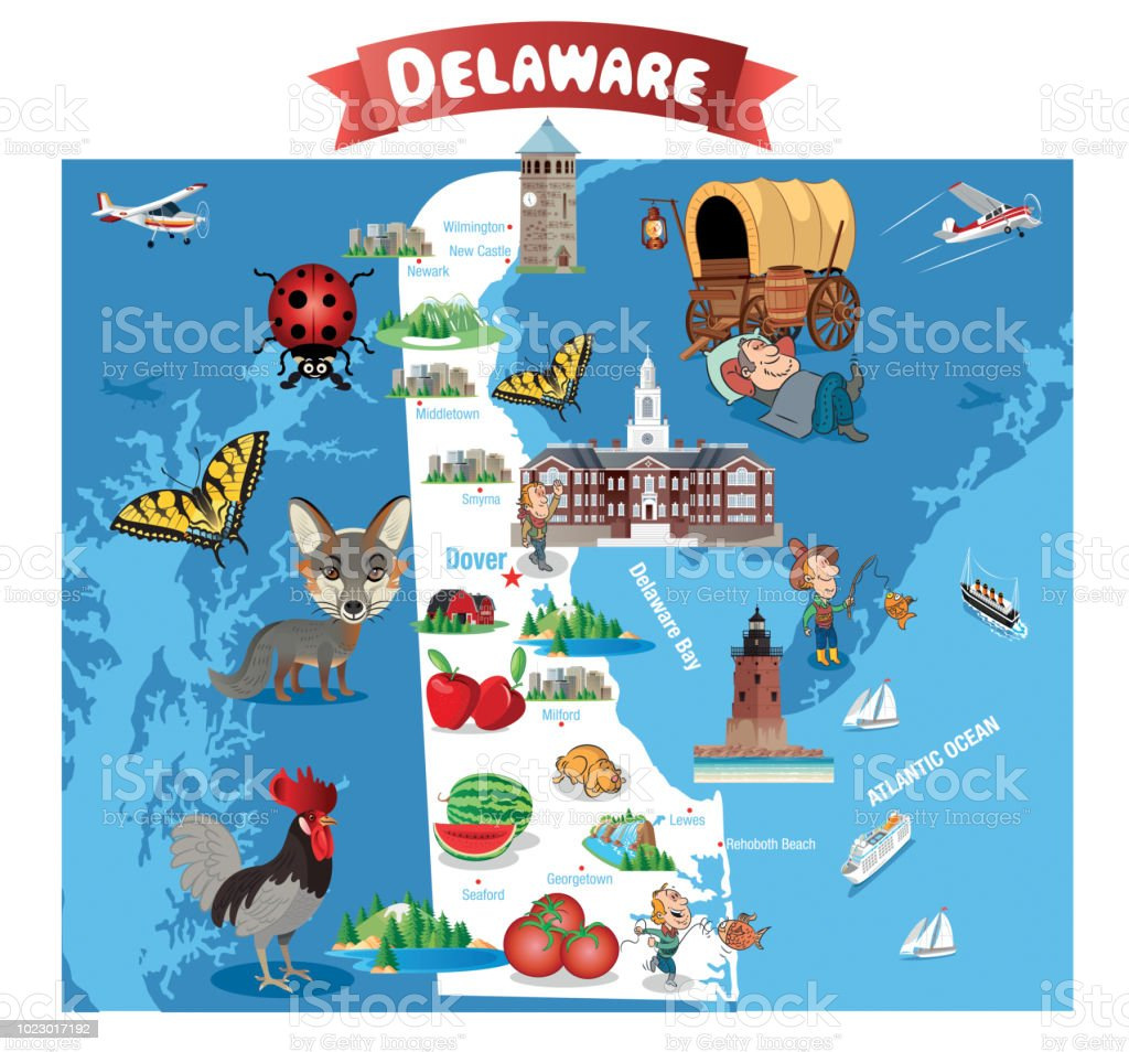 Cartoon Map Of Delaware Stock Vector Art More Images Of American - Cartoon-map-of-the-us