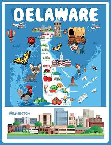 Cartoon Map of Delaware