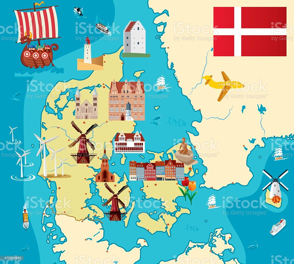Cartoon Map Of Denmark Stock Vector Art More Images of Aalborg