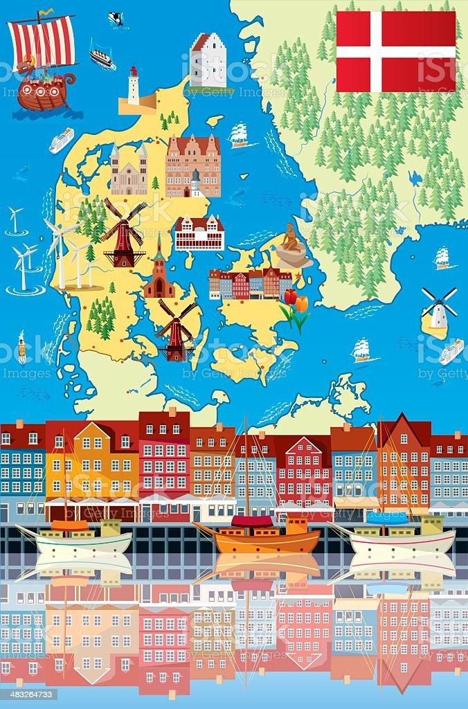 Cartoon Map Of Denmark Stock Vector Art More Images of Aalborg