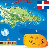 Cartoon map of Dominica