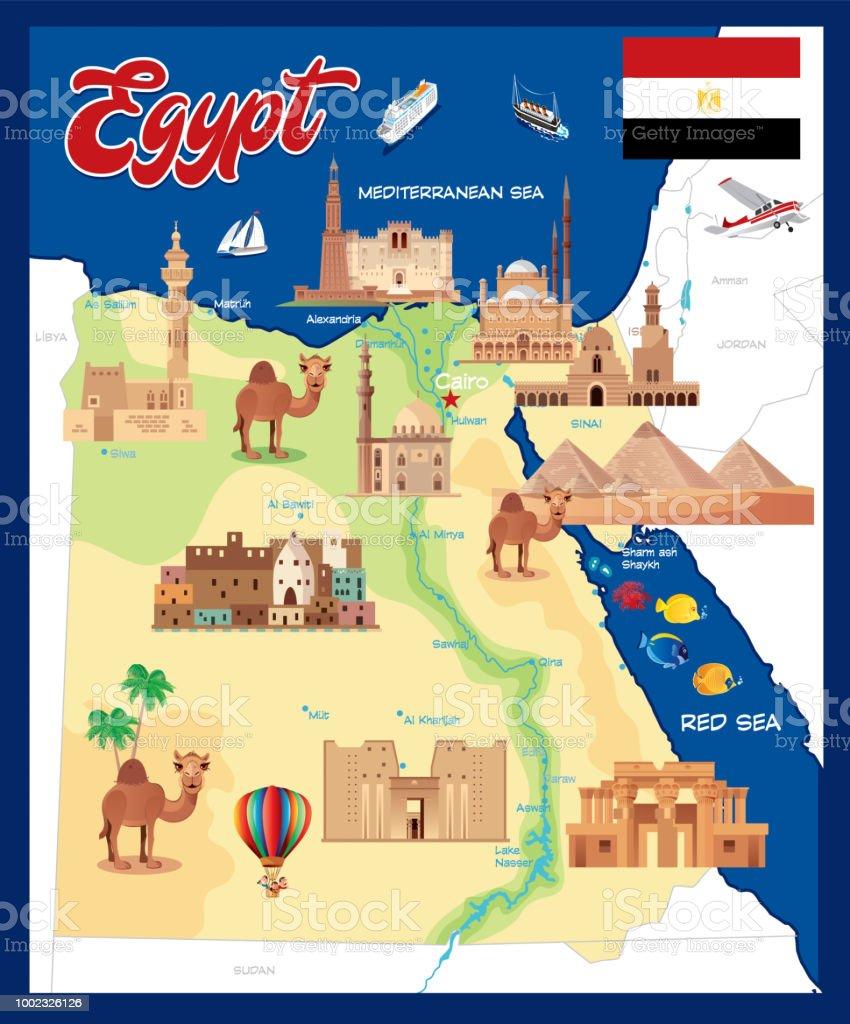 Karte Von ägypten.Cartoon Karte Von ägypten Stock Vektor Art Und Mehr Bilder Von