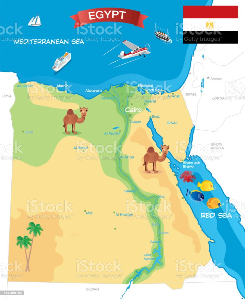 Cartoon Map Of Egypt Stock Illustration - Download Image Now ...