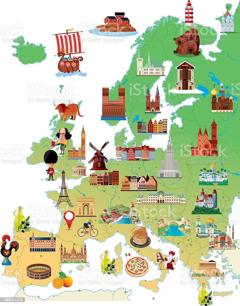 Cartoon map of Europe vector art illustration