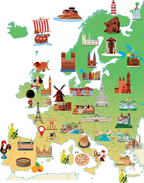 cartoon map of europe - europe travel stock illustrations, clip art, cartoons, & icons
