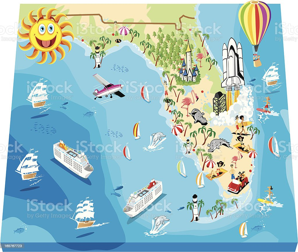Cartoon map of Florida royalty-free stock vector art