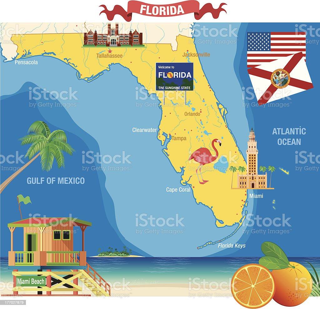 Dibujo Mapa De Florida Illustracion Libre De Derechos - Mapa florida