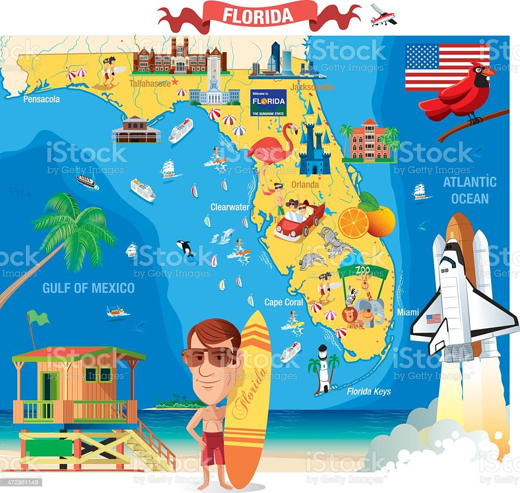 Cartoon Map Of Florida Stock Illustration - Download Image ...