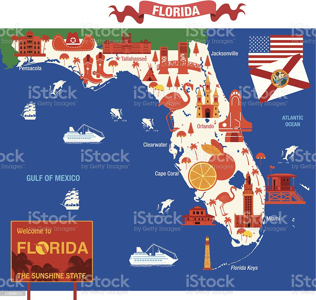 Cartoon Map Of Florida Stock Vector Art More Images of Animal