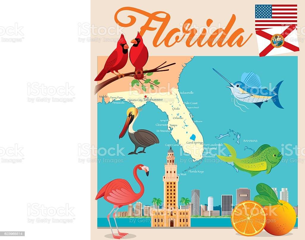 Cartoon Karte Von Florida Stock Vr Art und mehr Bilder von ... on