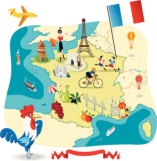 Cartoon map of FRANCE vector art illustration