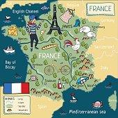 cartoon map of france