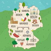 Cartoon map of Germany. Travel illustration with german landmarks, buildings, food and plants. Funny tourist infographics. National symbols. Famous attractions. Vector illustration
