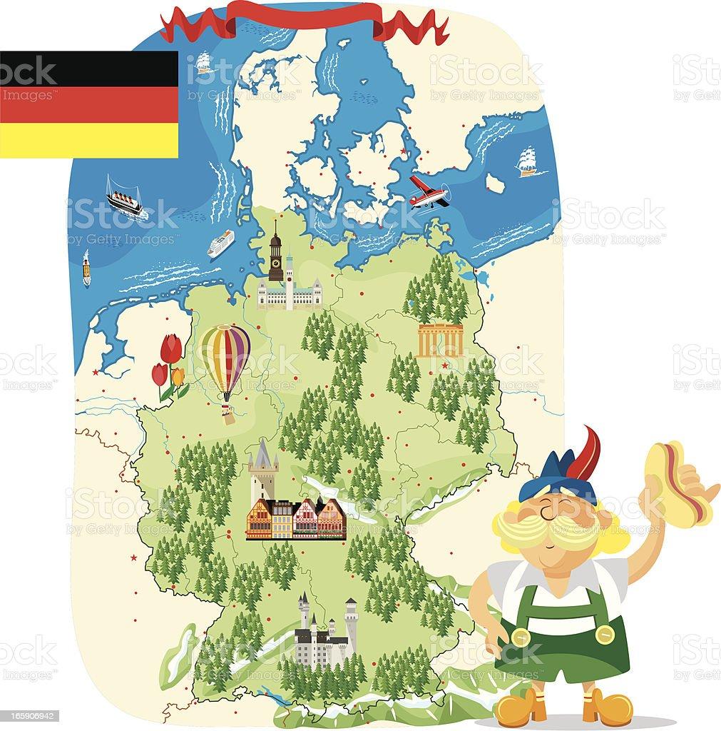 Cartoon map of Germany royalty-free stock vector art