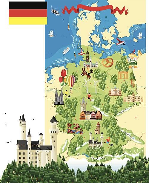 Dibujo Mapa de Alemania - ilustración de arte vectorial