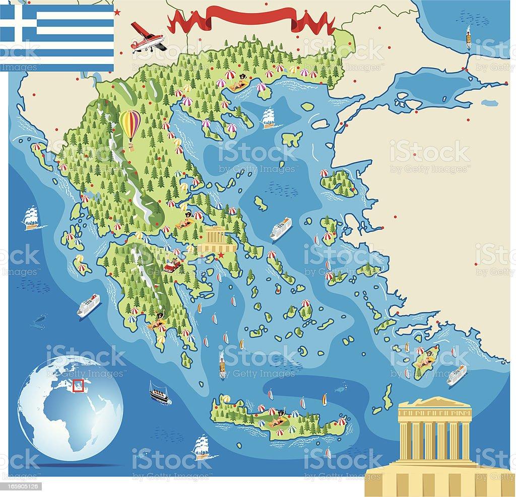 Cartoon map of Greece royalty-free stock vector art