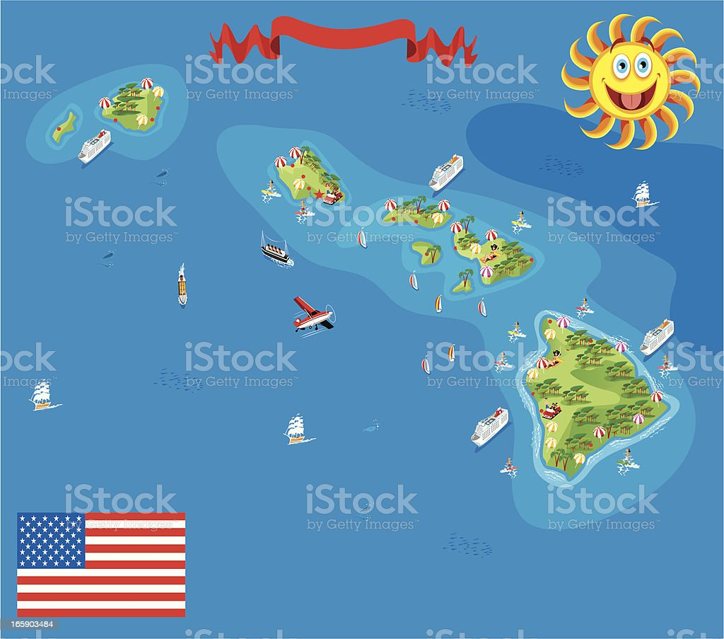 Cartoon map of Hawaii vector art illustration