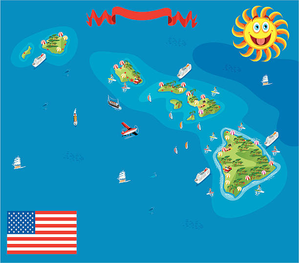 Cartoon map of Hawaii Cartoon map of Hawaii big island hawaii islands stock illustrations