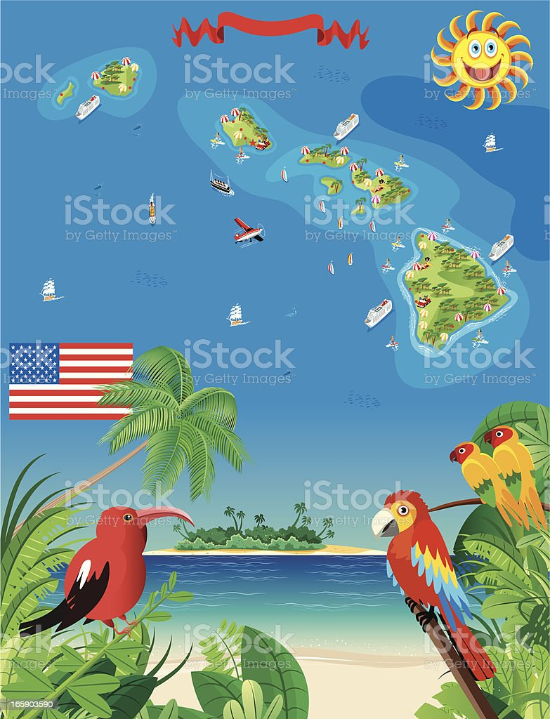 Cartoon map of Hawaii royalty-free cartoon map of hawaii stock vector art & more images of backgrounds