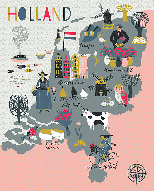 cartoon map of holland with legend icons - holandia stock illustrations