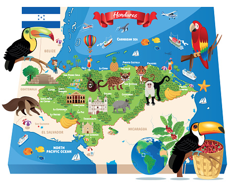 Cartoon Map of Honduras,Tegucigalpa, San Pedro Sula, Choloma, La Ceiba, El Progreso, Ciudad Choluteca, Comayagua, Puerto Cortez, La Lima, Danlí, Siguatepeque, Juticalpa, Villanueva, Tocoa, Tela, Santa Rosa de Copán, Olanchito, San Lorenzo,