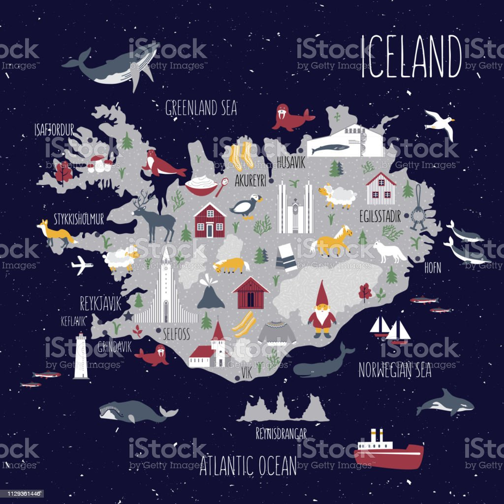 Cartoon map of Iceland, Nordic country geographic wallpaper,...