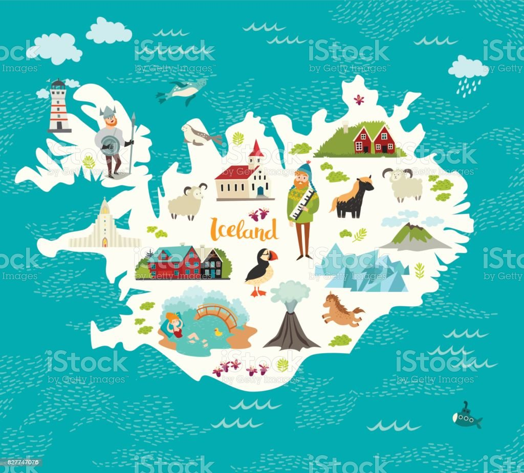 Cartoon Map Of Iceland Stock Vector Art IStock - Iceland map world
