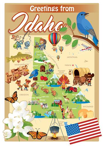Cartoon map of IDAHO
