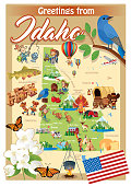 Cartoon map of IDAHO