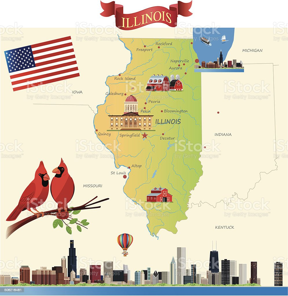 Cartoon map of Illinois vector art illustration