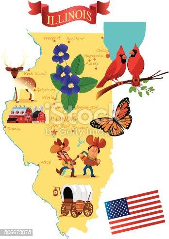 Cartoon map of Illinois