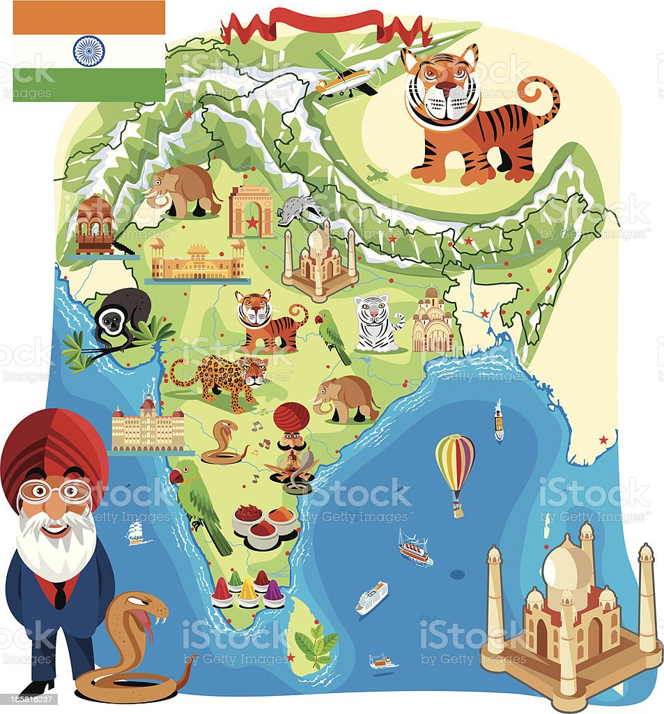 Cartoon map of India royalty-free stock vector art