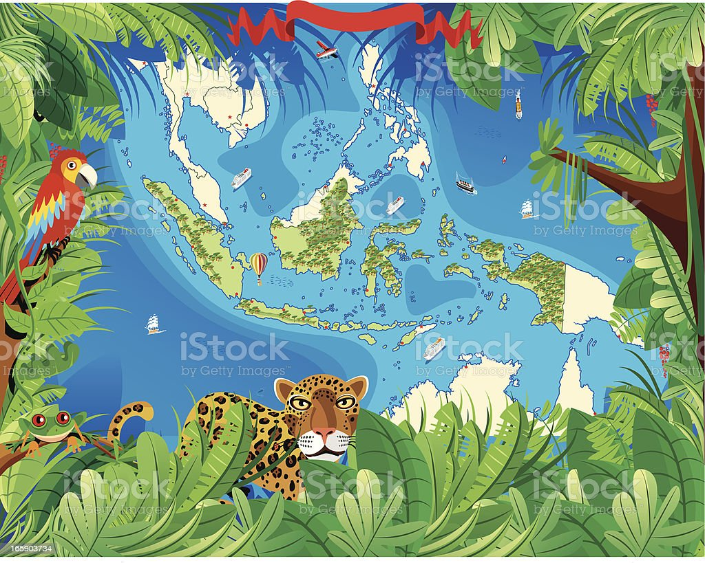 Cartoon map of Indonesia royalty-free stock vector art