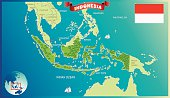 Cartoon map of Indonesia