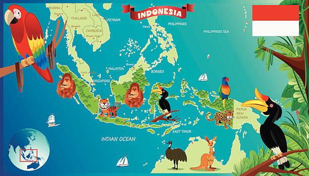 Cartoon map of Indonesia Cartoon map of Indonesia lagbok stock illustrations