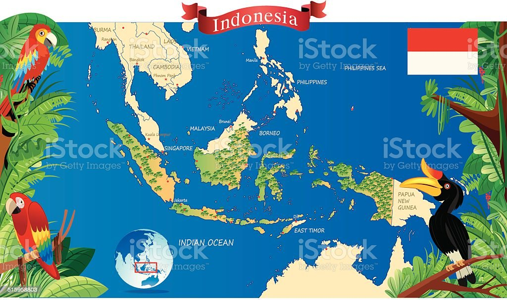 Cartoon Map Of Indonesia Stock Illustration Download Image