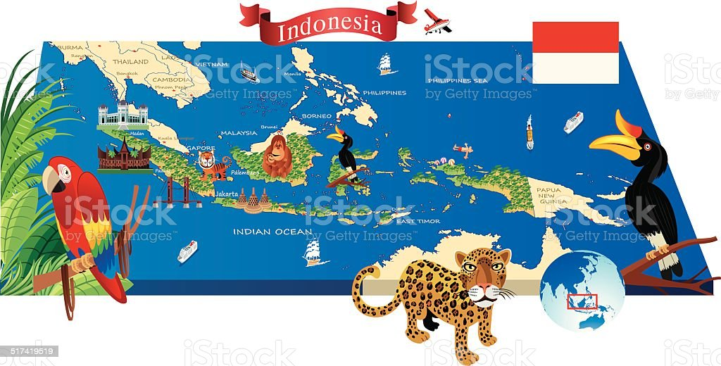 Cartoon Map Of Indonesia Stock Vector Art IStock - Map indonesia