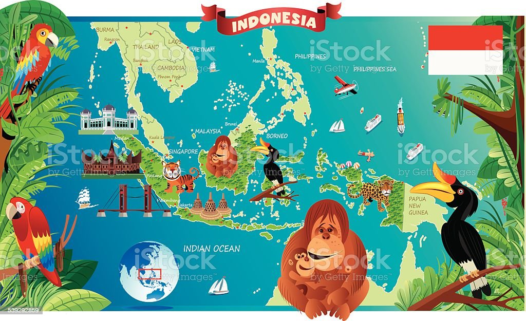 Cartoon map of Indonesia royalty free cartoon map
