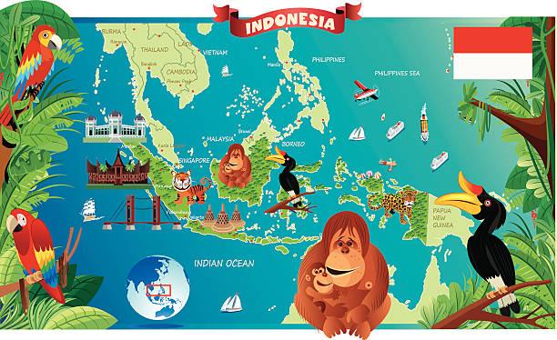 stockillustraties, clipart, cartoons en iconen met cartoon map of indonesia - indonesische cultuur