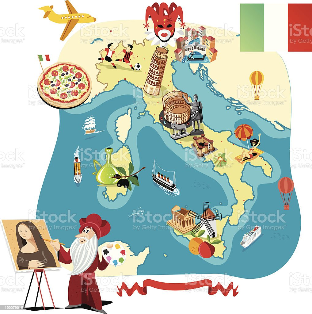 Cartoon Map Of Italy Stock Illustration Download Image Now
