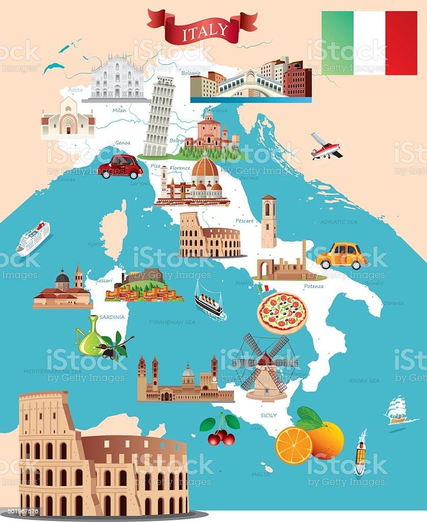 Fumetto mappa di Italia - arte vettoriale royalty-free di Affari finanza e industria