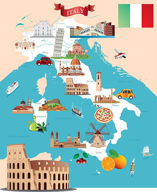 illustrazioni stock, clip art, cartoni animati e icone di tendenza di fumetto mappa di italia - milan fiorentina