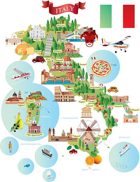 illustrazioni stock, clip art, cartoni animati e icone di tendenza di fumetto mappa di italia - sardegna