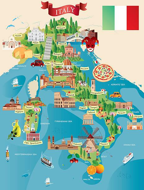 illustrazioni stock, clip art, cartoni animati e icone di tendenza di fumetto mappa di italia - cartina italia