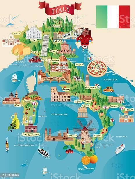 Fumetto Mappa Di Italia - Immagini vettoriali stock e altre immagini di Affari finanza e industria
