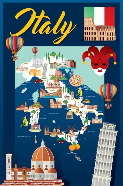 cartoon karte von italien - pompeii stock-grafiken, -clipart, -cartoons und -symbole