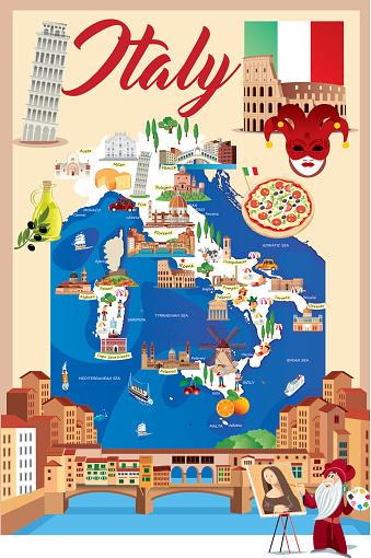 Cartoon map of ITALY