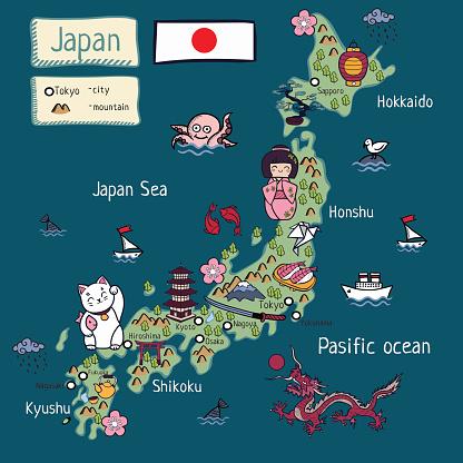 cartoon map of japan
