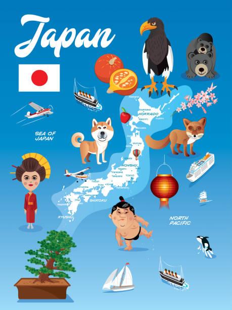 日本の漫画の地図 - アジア旅行点のイラスト素材/クリップアート素材/マンガ素材/アイコン素材