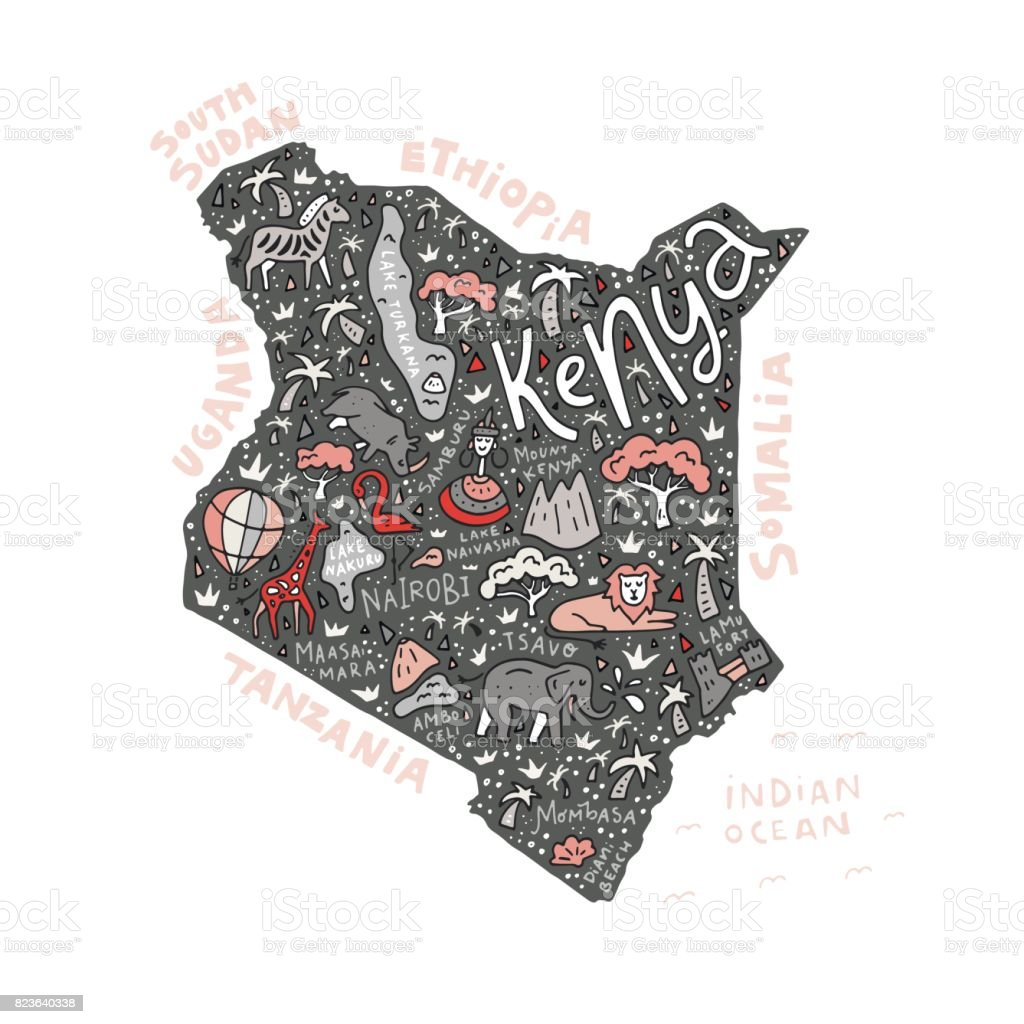 Cartoon Map of Kenya vector art illustration